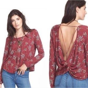Free People dark floral open back long sleeve top